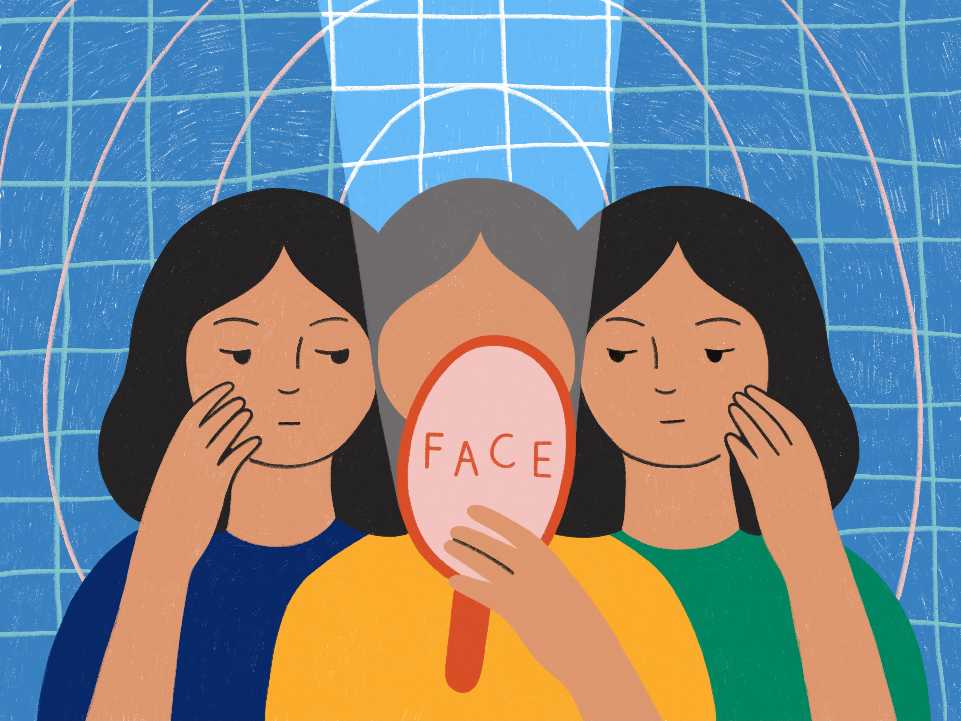 Illustration of three people looking into one hand mirror, held by the person at the centre, who has no facial features.