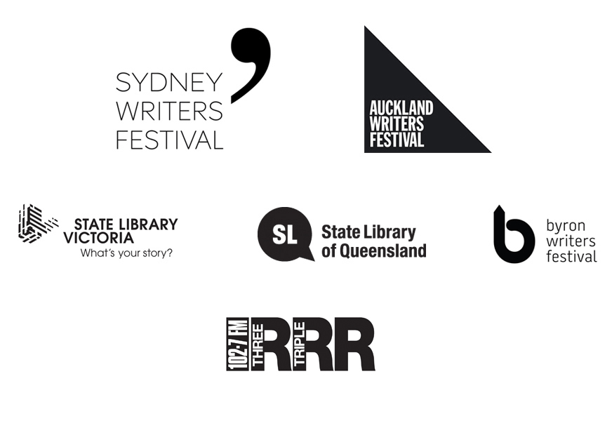 Logos of partner organisations: Sydney Writers Festival, Auckland Writers Festival, State Library Victoria, State Library of Queensland, Byron Writers Festival and 3RRR