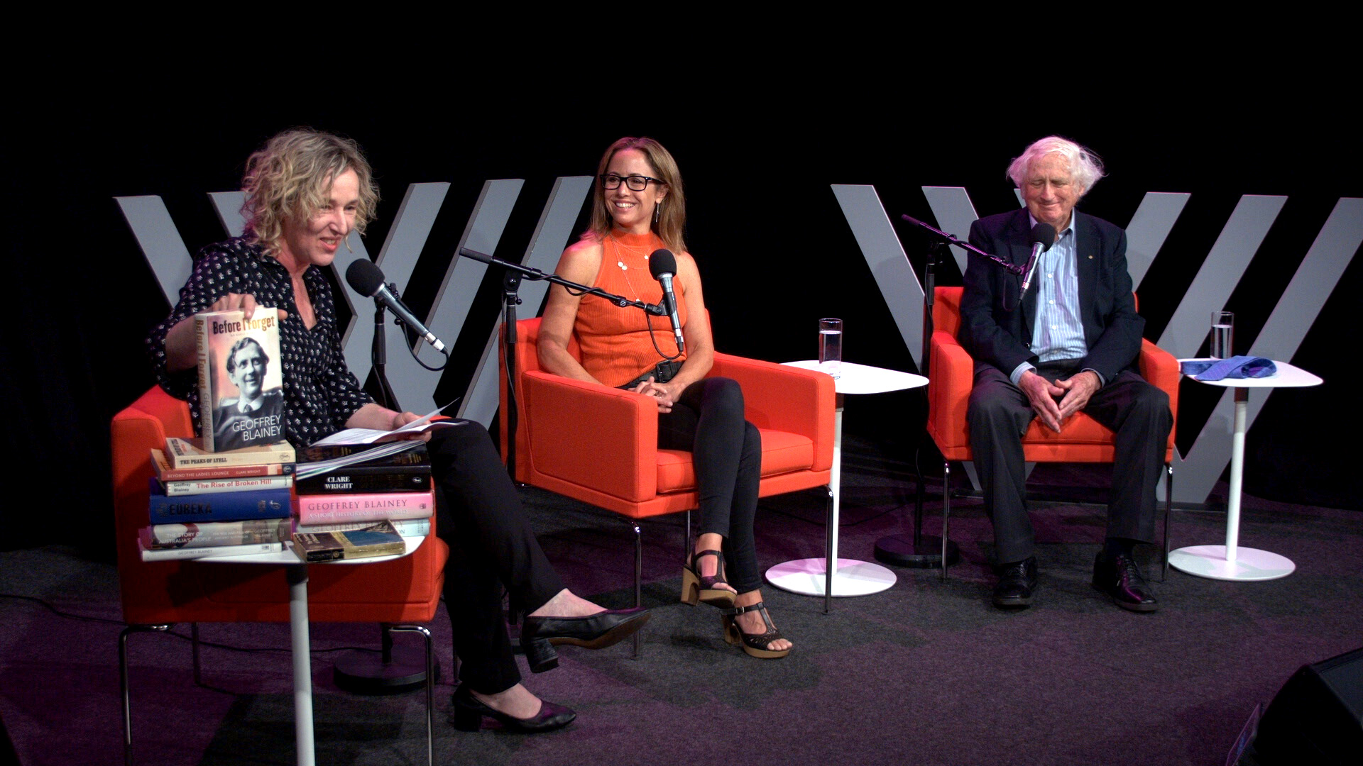 Photo of Sally Warhaft, Clare Wright and Geoffrey Blainey