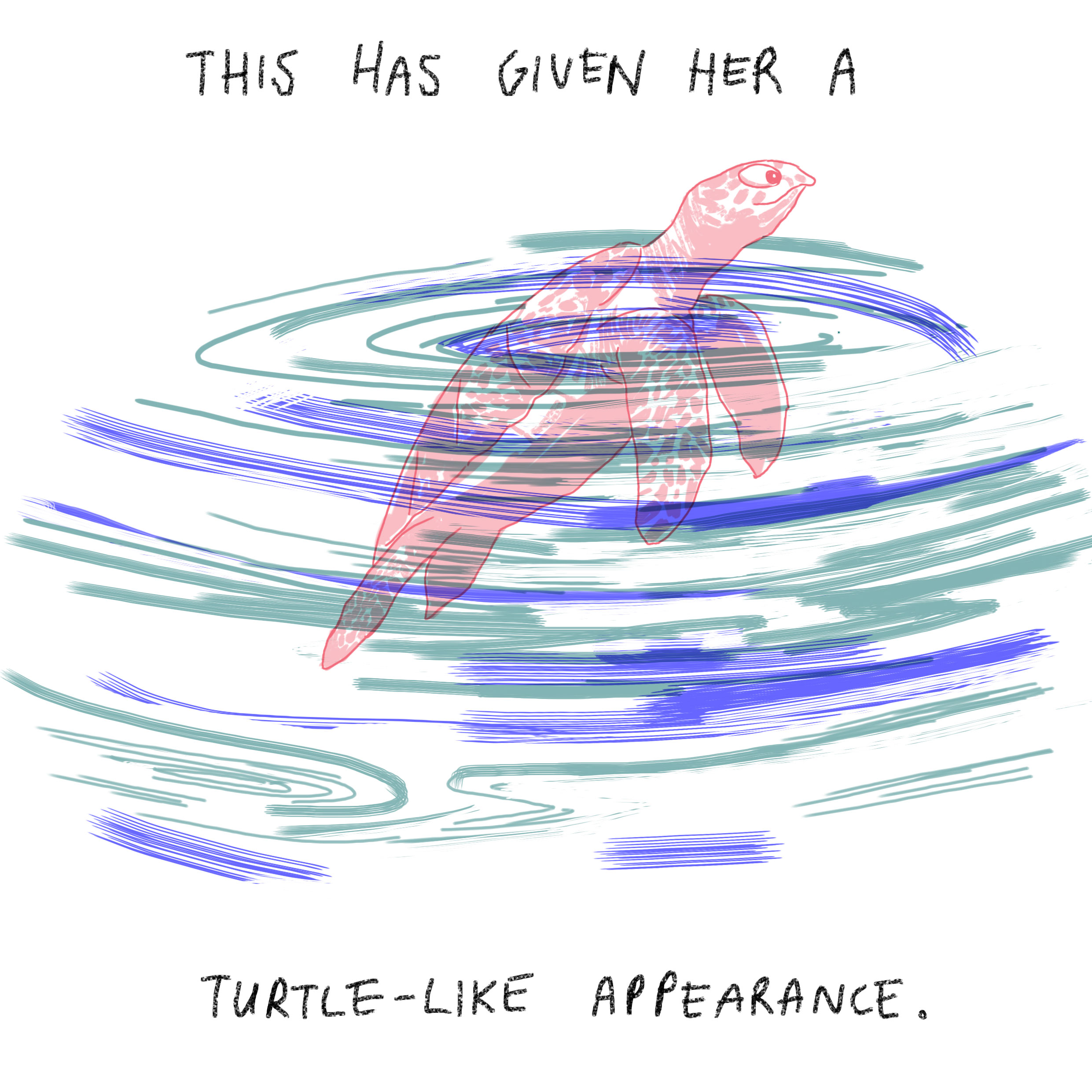 'This has given her a turtle-like appearance.'