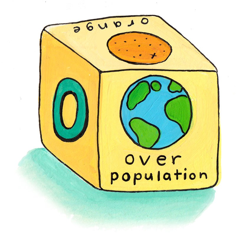 "cube toy showing ""orange"" and ""over population"" on different sides"