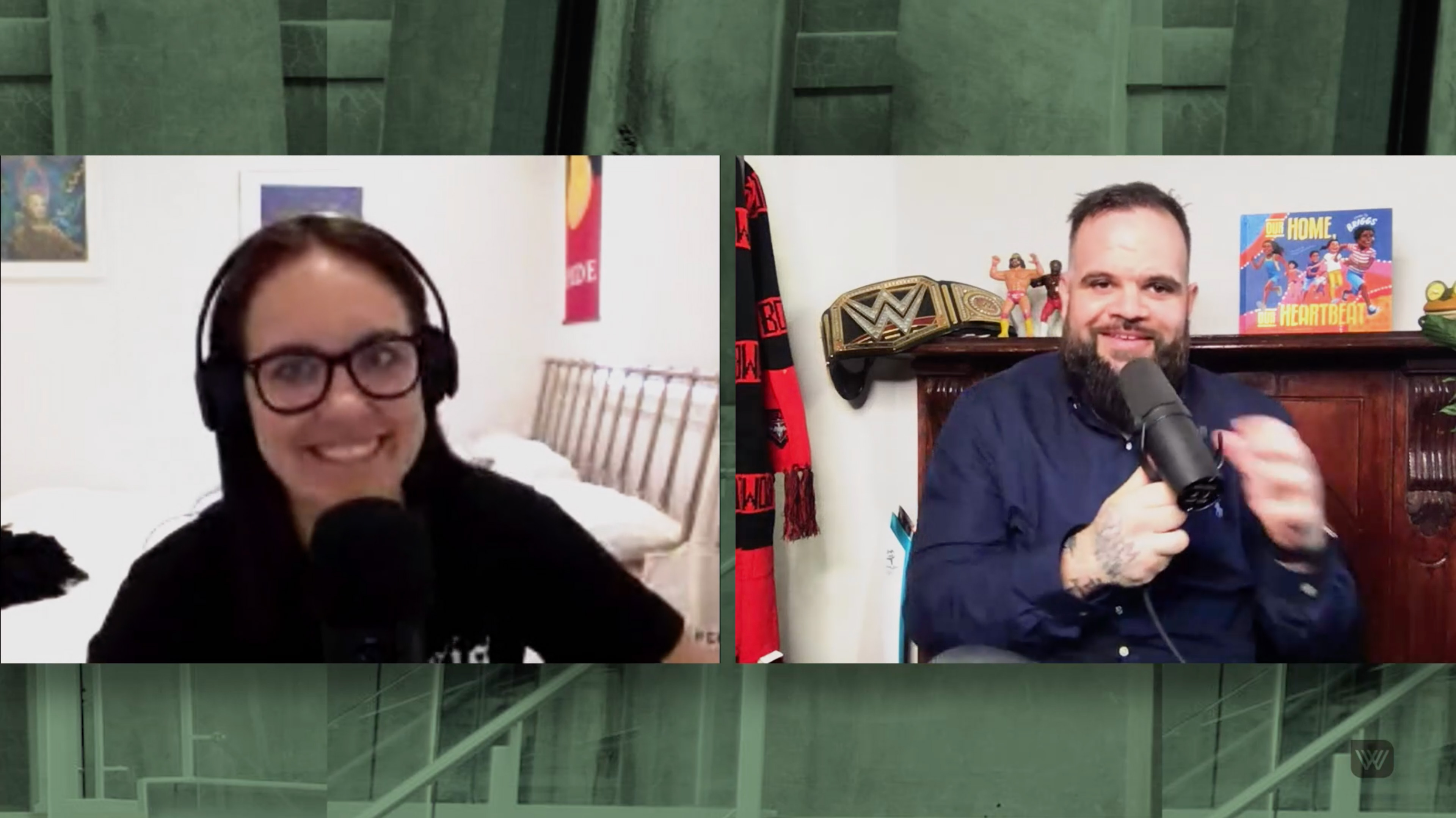 Screenshot of Marlee Silva, on the left, in her bedroom wearing headphones and glasses, speaking into a microphone - and Adam Briggs, on the right, in front of a cabinet with his book, a wrestling belt, an Essendon Bombers scarf and figurines, holding a microphone to his mouth and smiling
