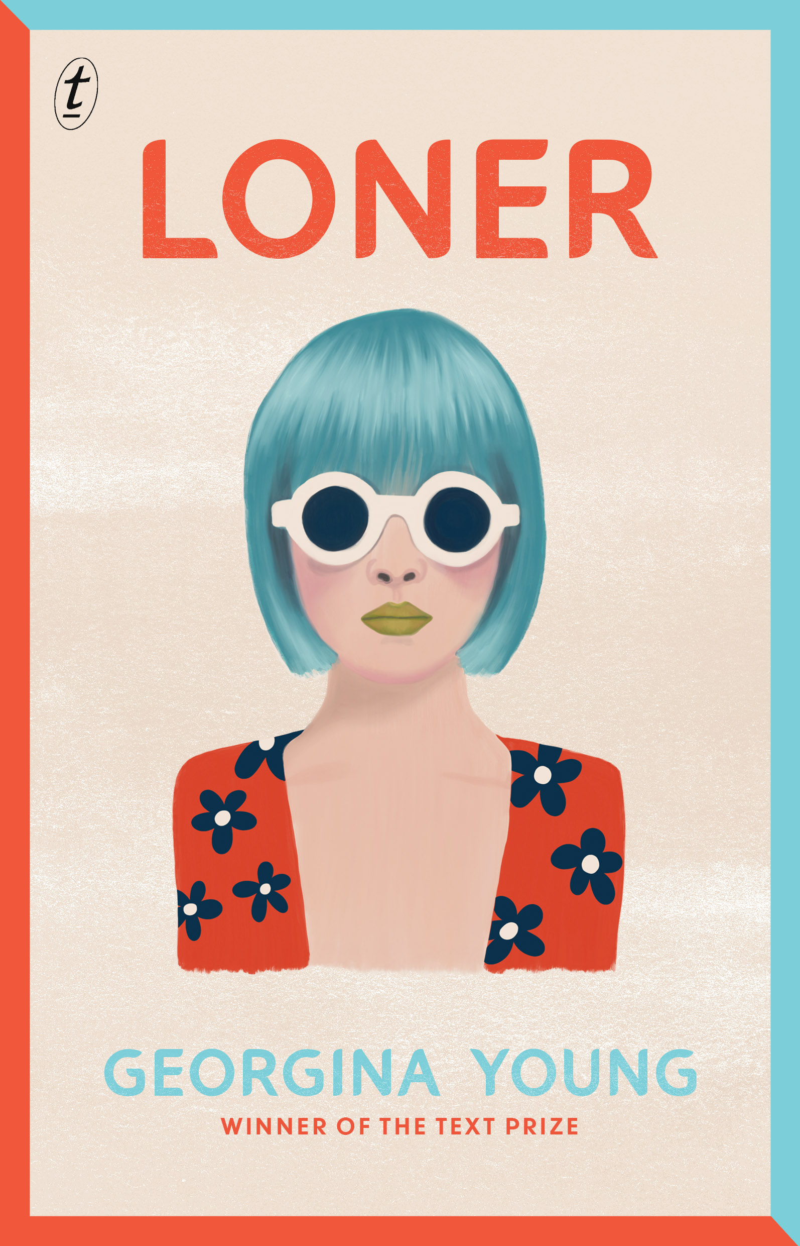 Cover image of the novel 'Loner', showing an illustration of a young person with short  blue hair and sunglasses