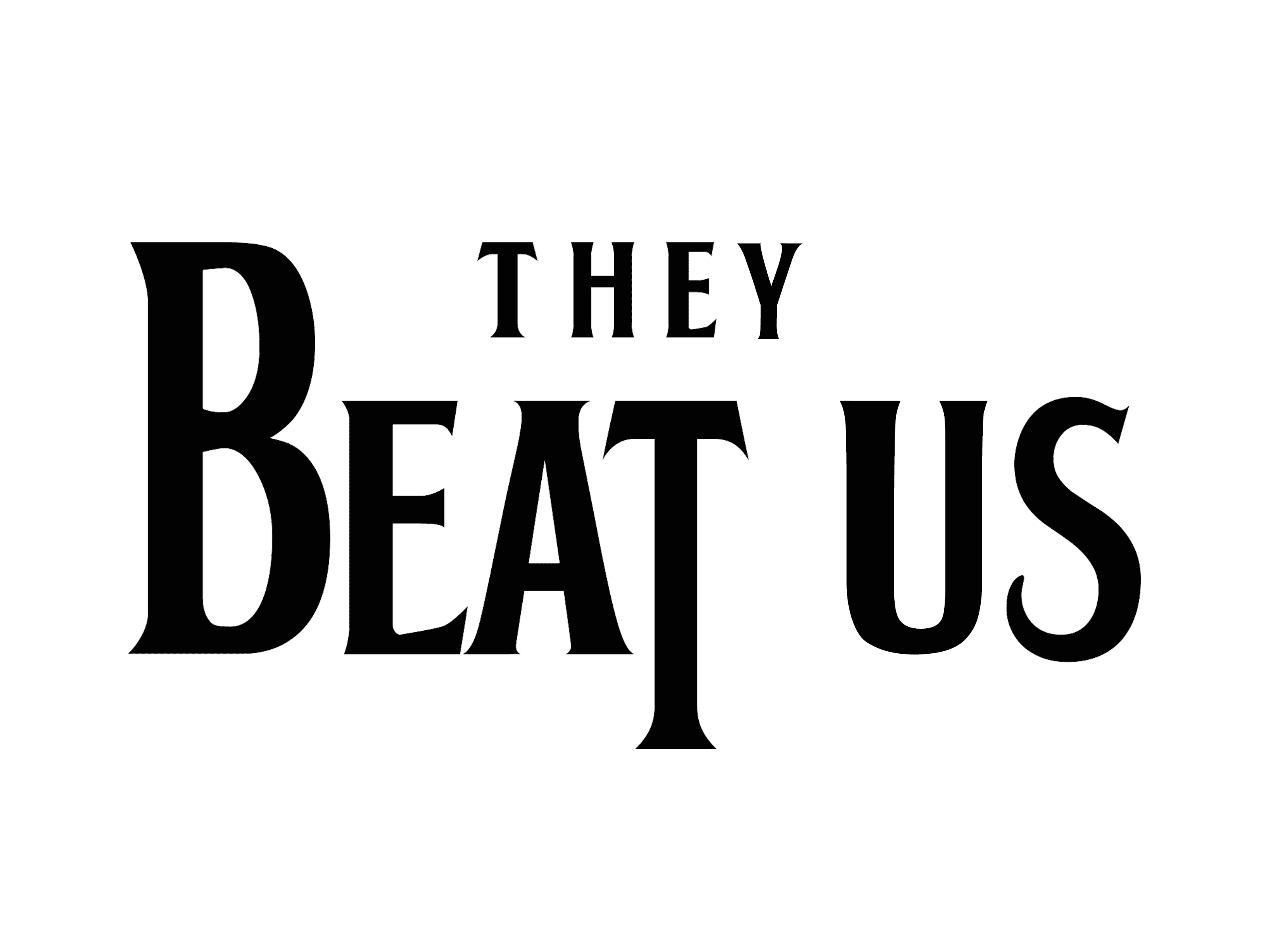 A riff on the Beatles logo – spelling out 'They Beat Us'