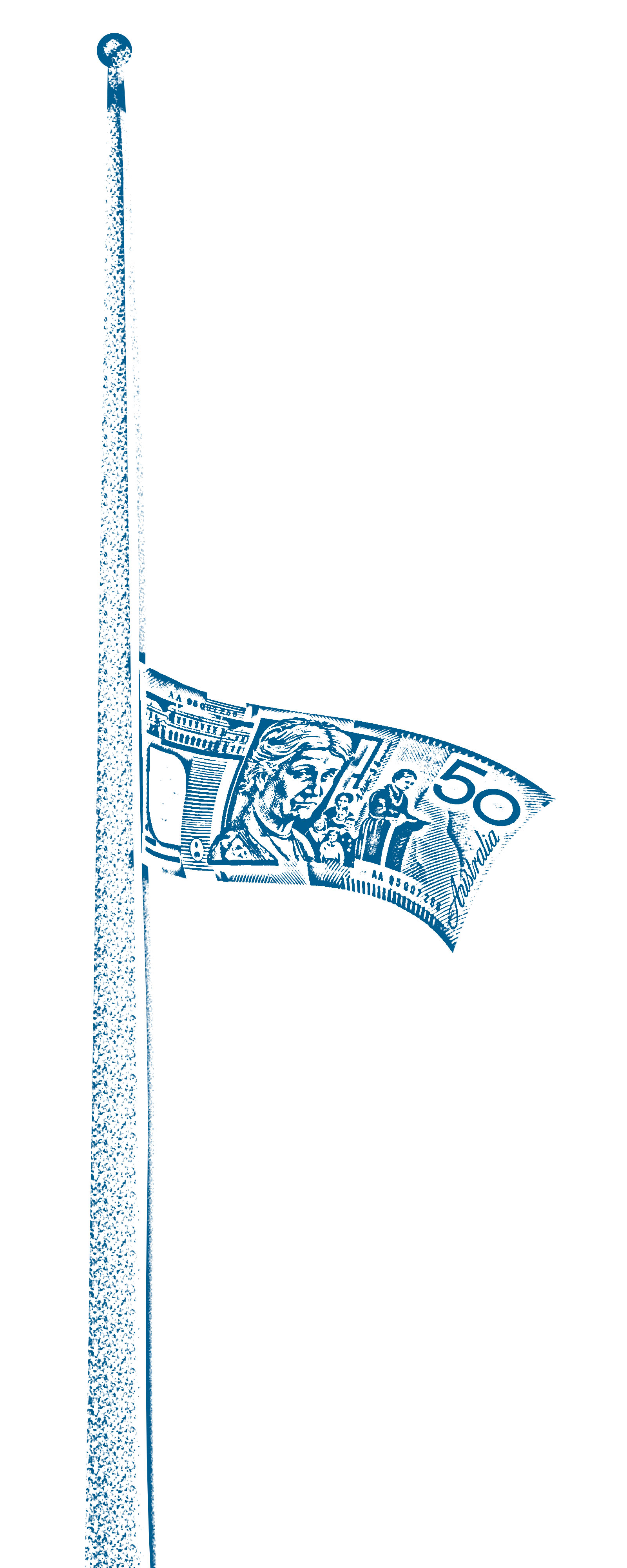 Illustration of a flagpole with an Australian fifty dollar note flying at half-mast