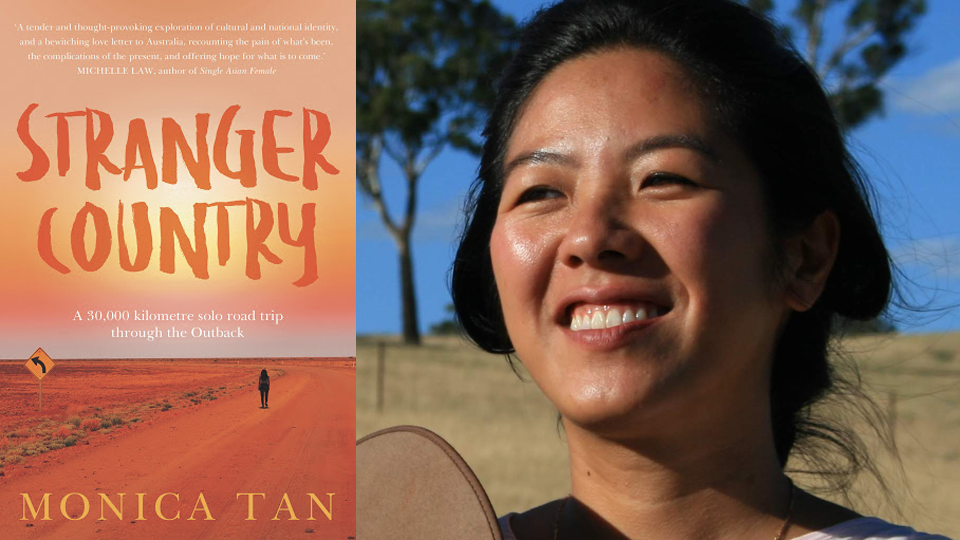 Photograph of Monica Tan next to the cover of her book, 'Stranger Country', featuring a figure standing in the middle of a remote, red dirt highway