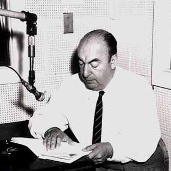 Neruda during a Library of Congress recording session [1966], via WikiCommons