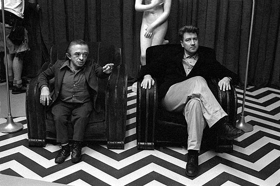 *Twin Peaks* creator David Lynch - right, in the series' famously weird 'red room'.