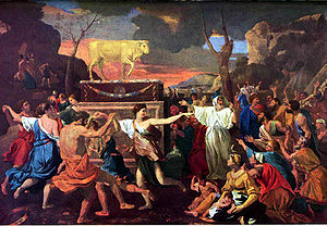 Image of Poussin's 'Adoration of the Golden Calf', before it was vandalised, courtesy the National Gallery via Wikipedia
