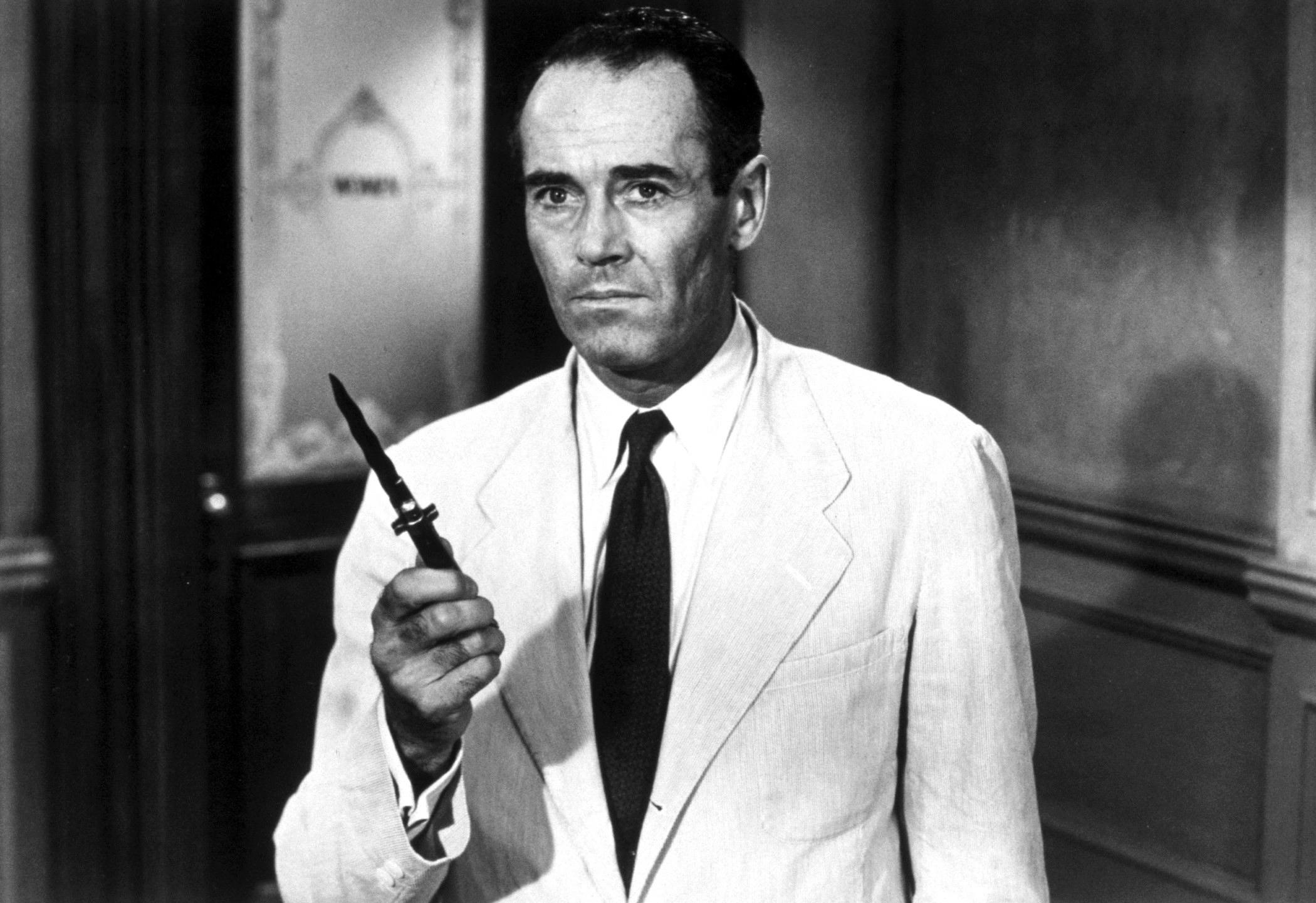 Henry Fonda plays the lead role in the Oscar-nominated 1957 film of *Twelve Angry Men*, which he co-produced.