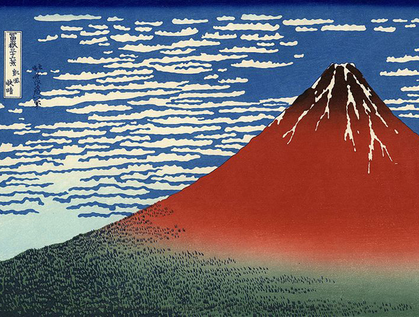 Detail of Hokusai's Red Fuji via WikiCommons
