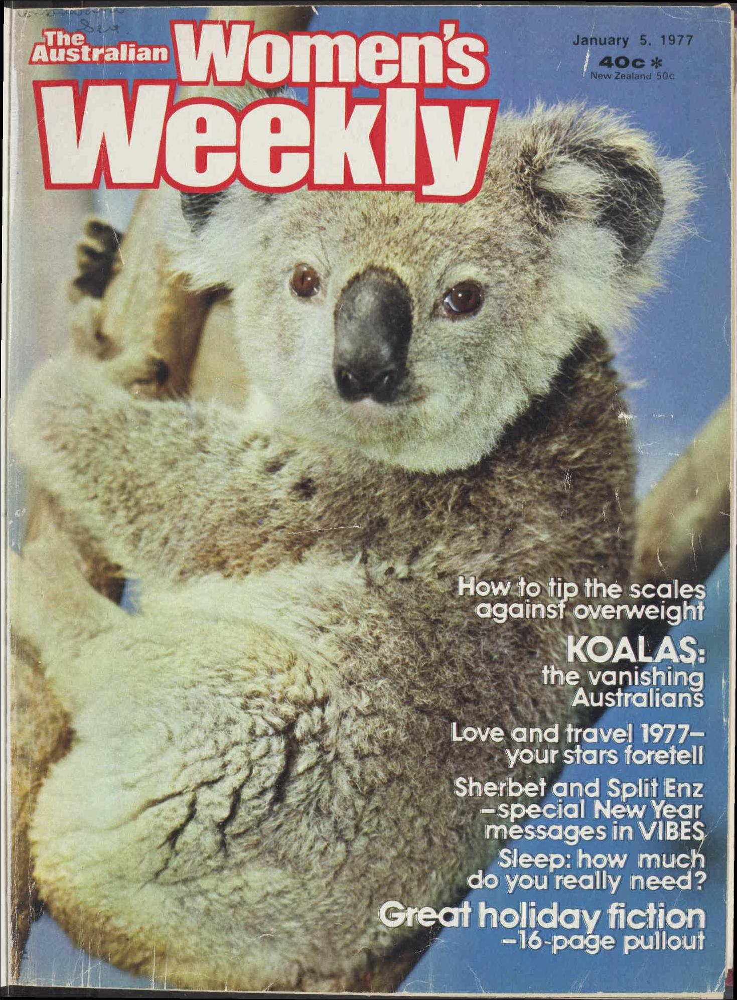 Overweight koalas: a women's magazine cover story from another era.