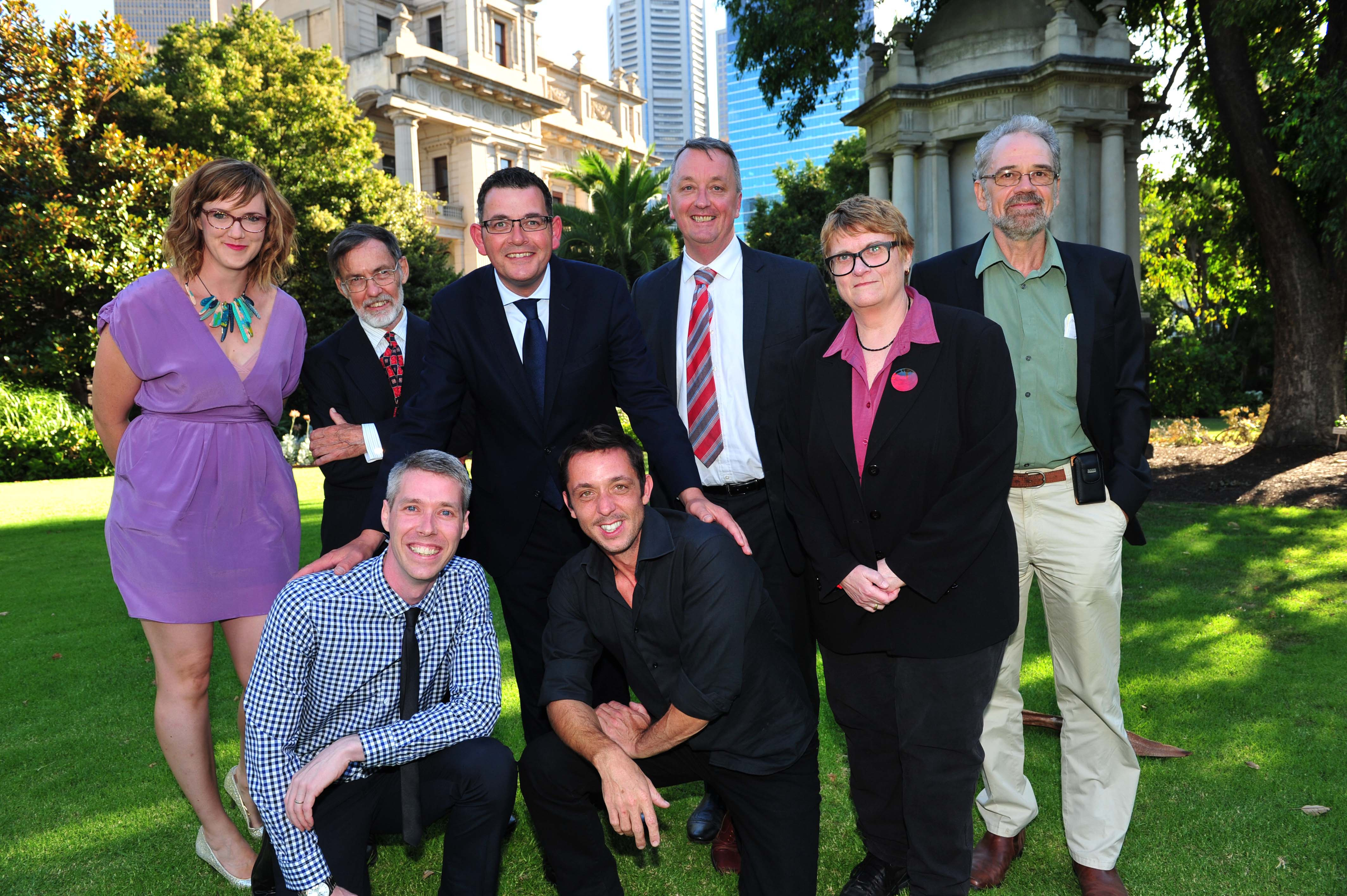 The category winners of the Victorian Premiers' Literary Awards 2015, with Minister for Creative Industries Martin Foley and Premier Daniel Andrews. From left to right, back row to front: Claire Zorn, Alan Atkinson, Premier Daniel Andrews, Creative Minister Martin Foley, Jill Jones, Tim Low, Rohan Wilson and Angus Cerini.