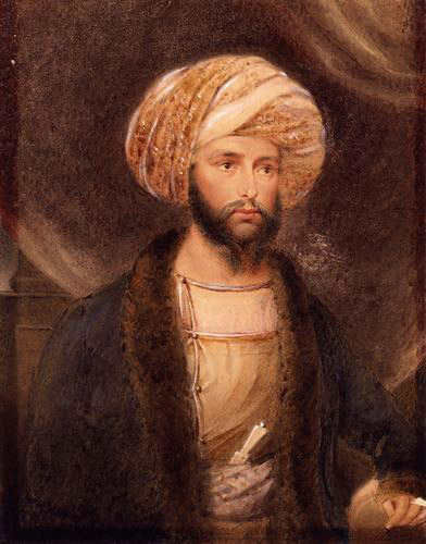 Portrait of General Sir James Abbott dressed as an Indian noble by B. Baldwin, 1841, courtesy National Portrait Gallery, London, via Wikipedia