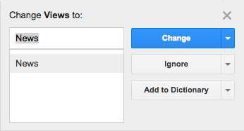 Google spellcheck suggests changing 'views' to 'news'