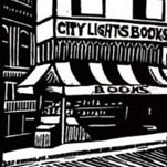 Detail of San Francisco's City Lights bookstore from the linocut, 'Remarkable Collection of Angels', from the blog Fiji Island Mermaid Press