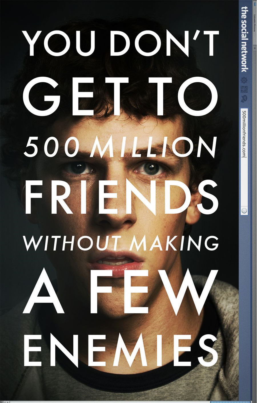 Poster from the film, The Social Network