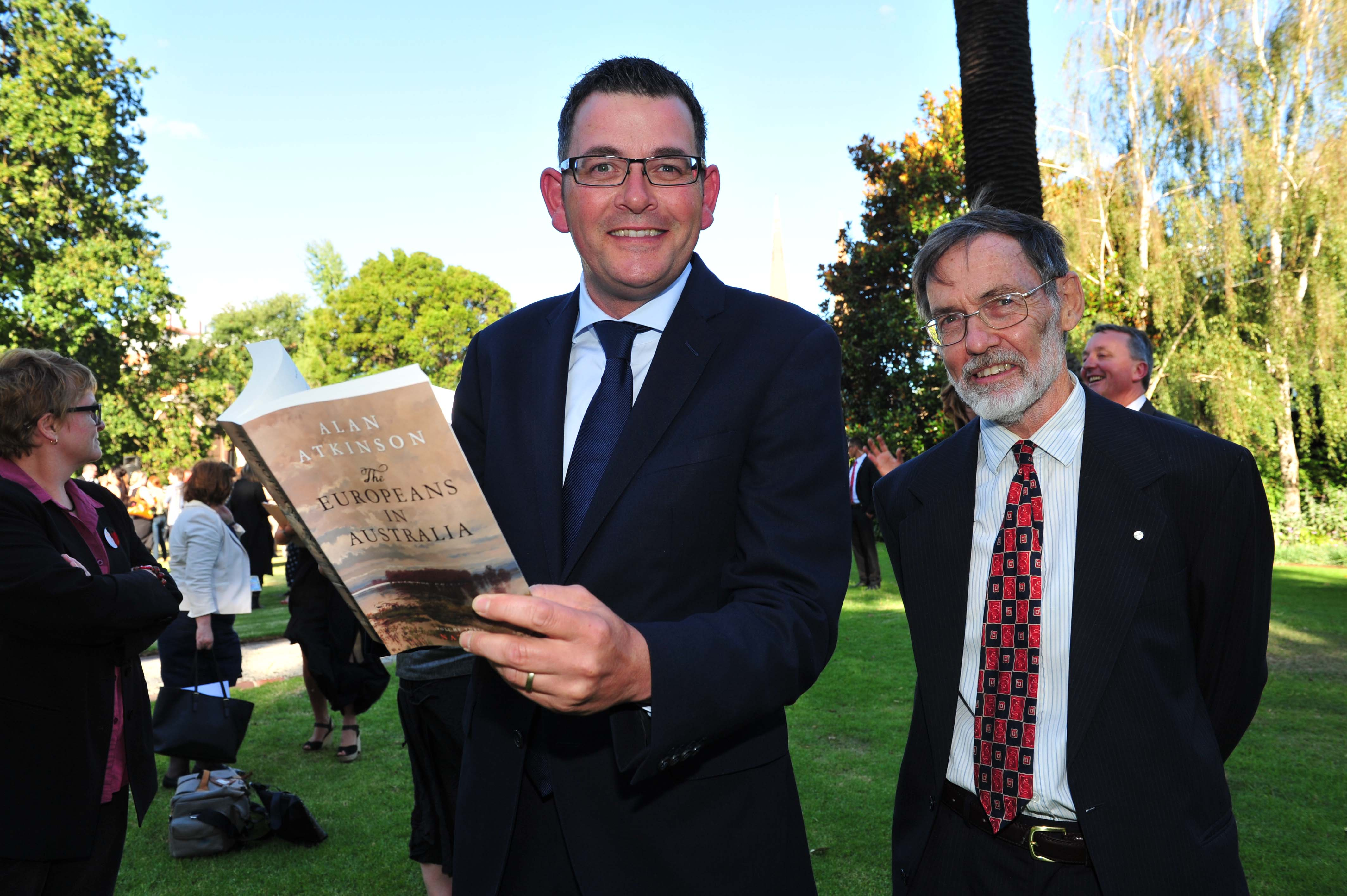Premier Daniel Andrews with Alan Atkinson, winner of the Victorian Prize for Literature.