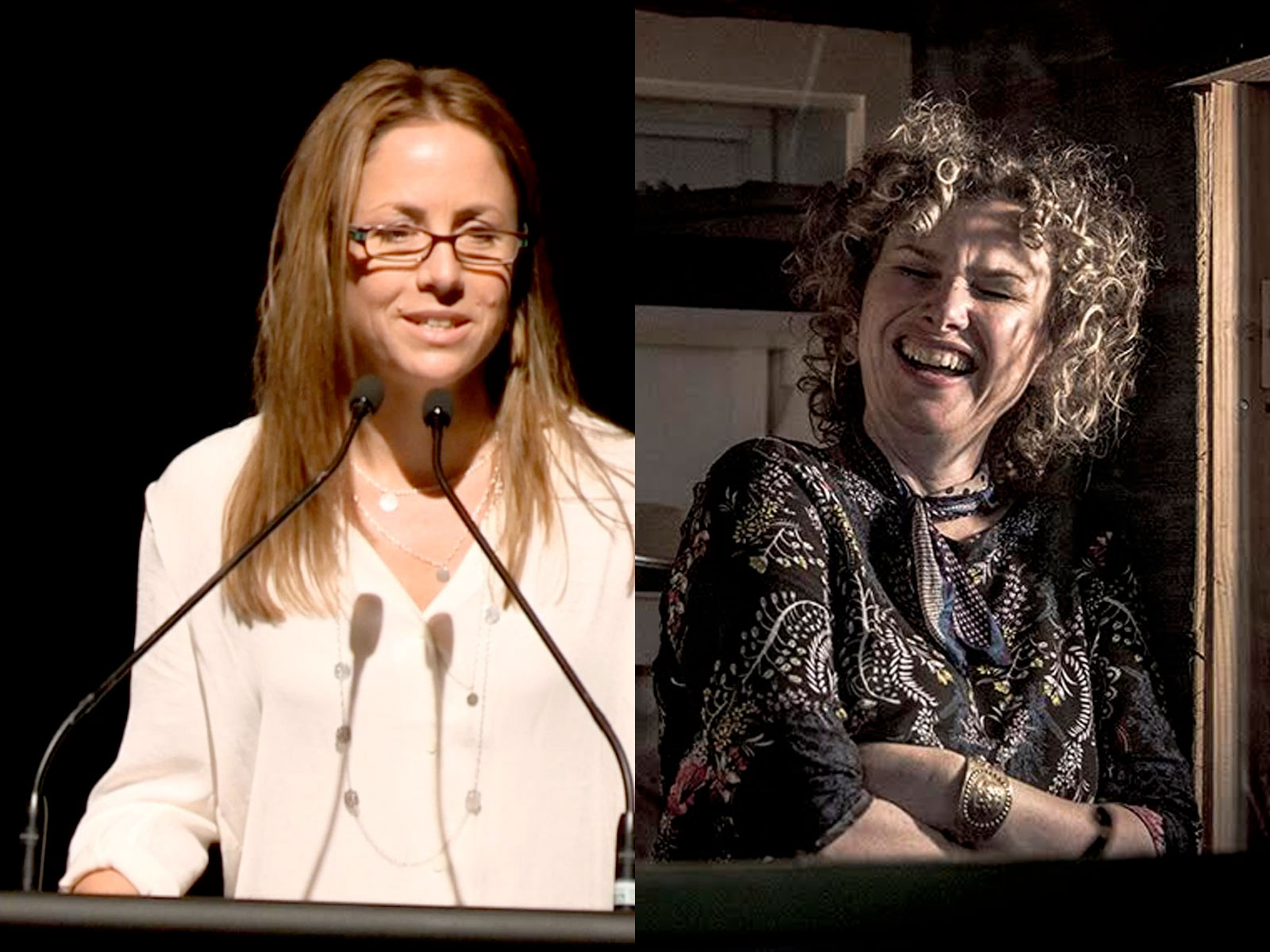 Left: Clare Wright delivering her speech. Right: Suzannah Espie during the recording of 'I'm Sorry'.