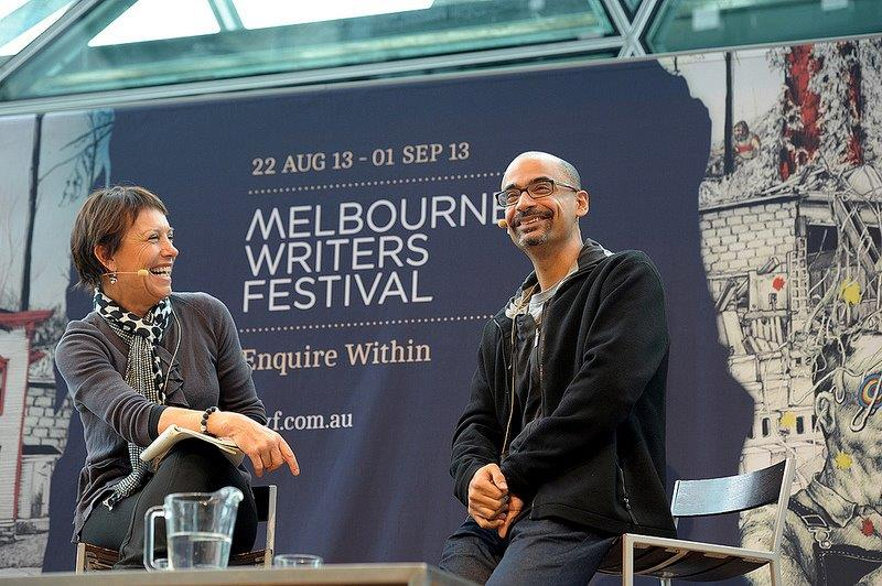 Jennifer Byrne interviews Junot Diaz at Melbourne Writers Festival 2013. Photo courtesy of MWF.