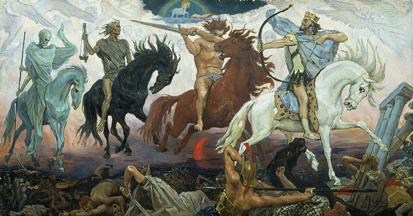 'The Four Horsemen of the Apocalypse', by Viktor Vasnetsov, 1887, via WikiCommons
