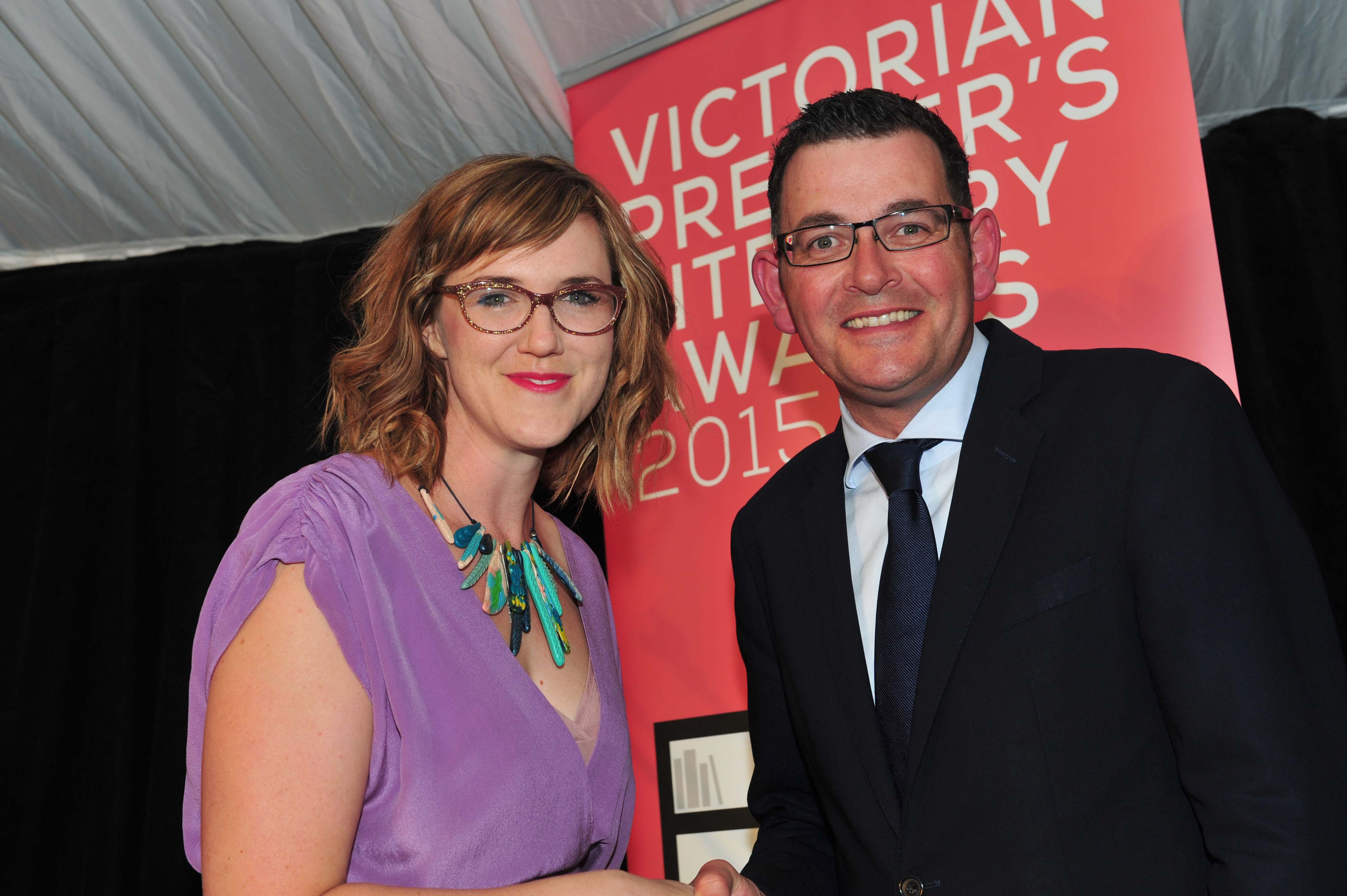 Claire Zorn, winner of the Prize for Young Adult Writing, with Premier Daniel Andrews.