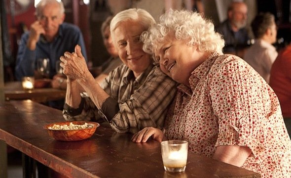 Photograph of actors Olympia Dukakis and Brenda Fricker from the film, Cloudburst
