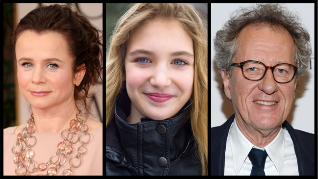From left: Emily Watson, Sophie Nelisse and Geoffrey Rush