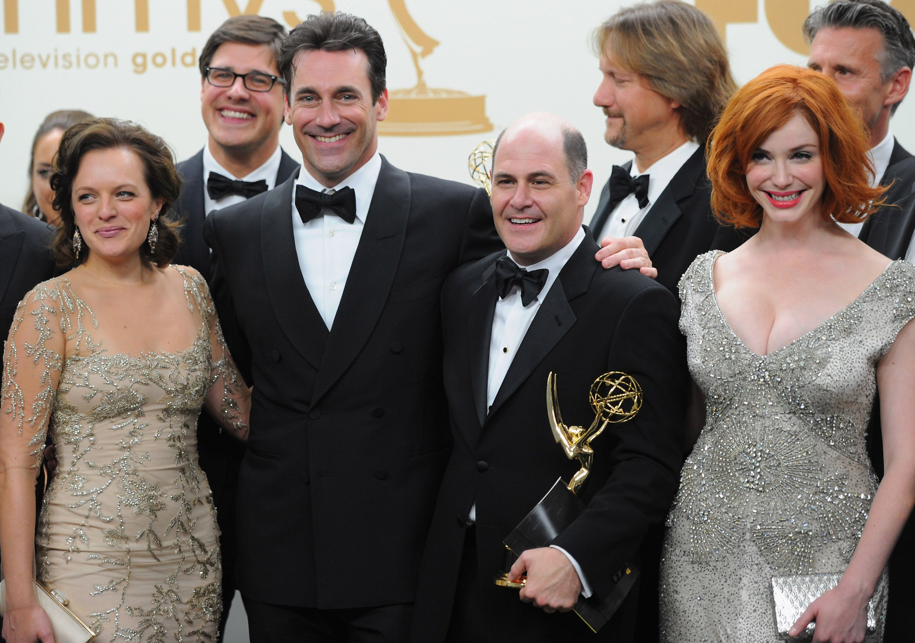 Matthew Weiner with *Mad Men* cast members.