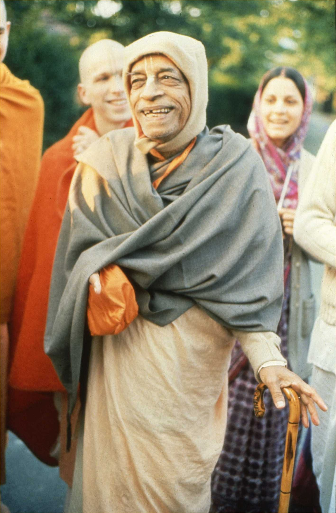 Photograph of Bhaktivedanta Swami Prabhupada, founder of the International Society for Krishna Consciousness, with his disciples in 1974.