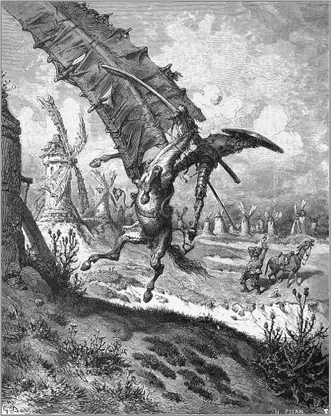 Image of Don Quixote attacking a windmill via Wikipedia