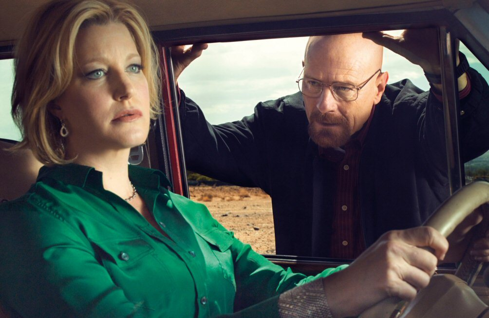 Anna Gunn (left) in character as the much-hated Skyler White.