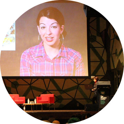 Image: Anita Sarkeesian at RMIT Storey Hall for the Wheeler Centre