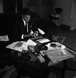 Leonard Cohen at his desk in Montreal, Canada, 1963