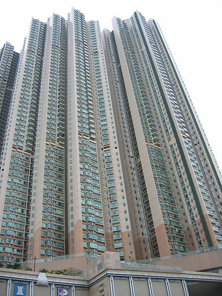 Image of a residential skyscraper in Hong Kong via Wikicommons