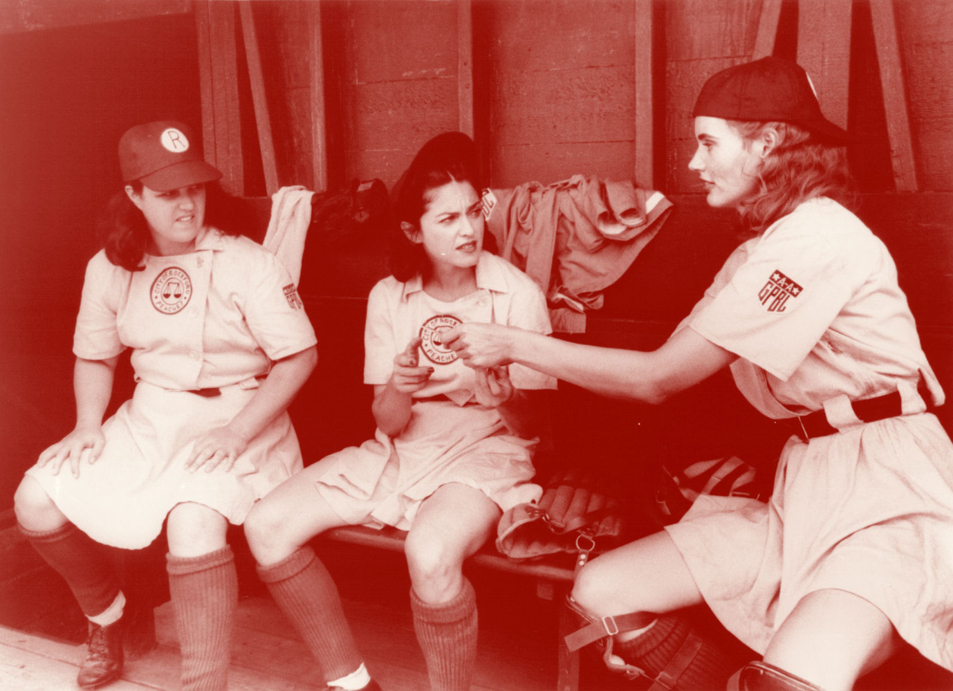 Still from a scene in the film 'A League of Their Own' with Rosie O'Donnell, Madonna and Geena Davis