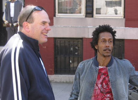 David Simon, left, on the set of *The Wire*.