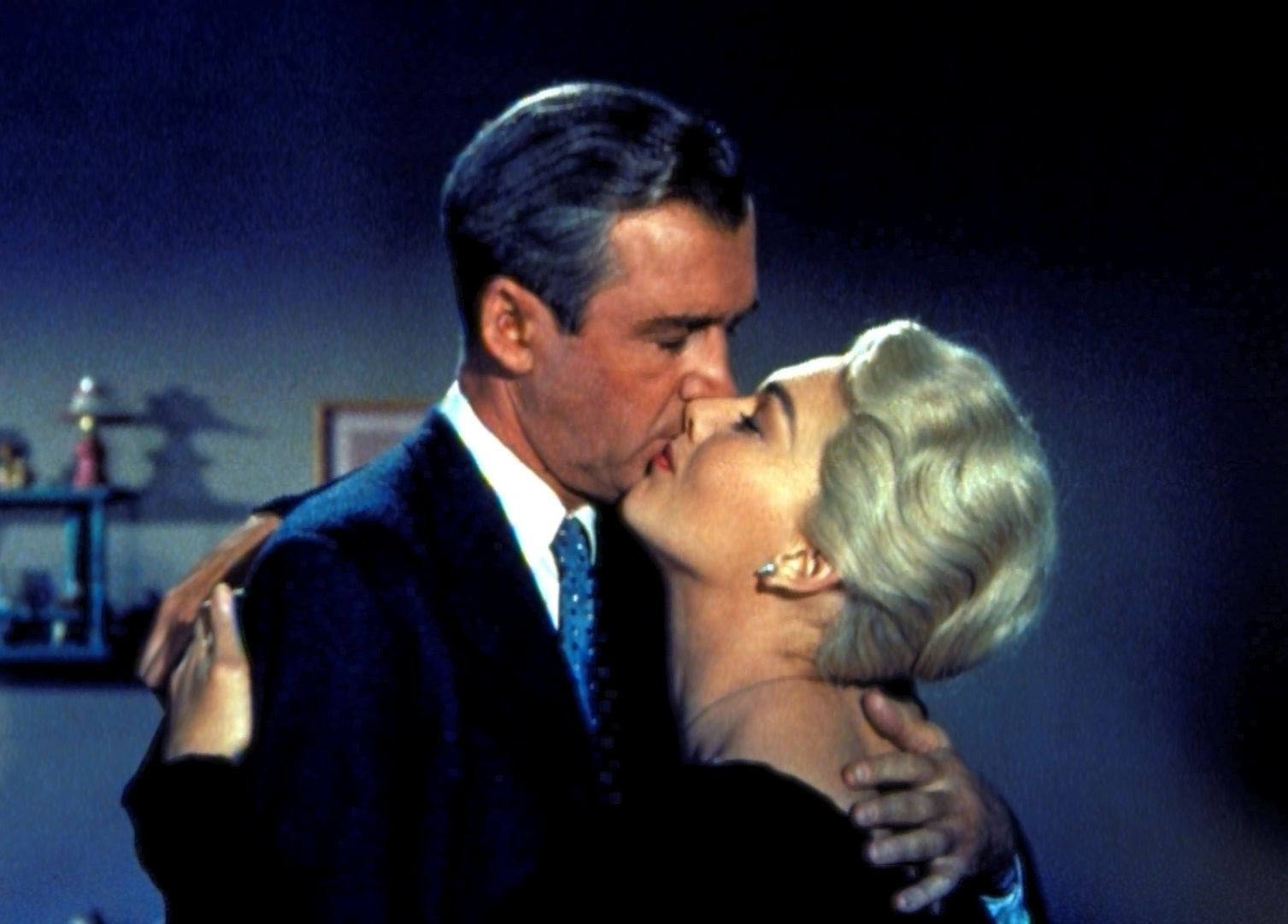 James Stewart and Kim Novak in Alfred Hitchcock's *vertigo*.