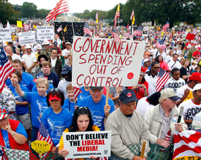 A Tea Party rally: ''The Republican Party is not what it used to be. It's fallen into dangerous hands.'