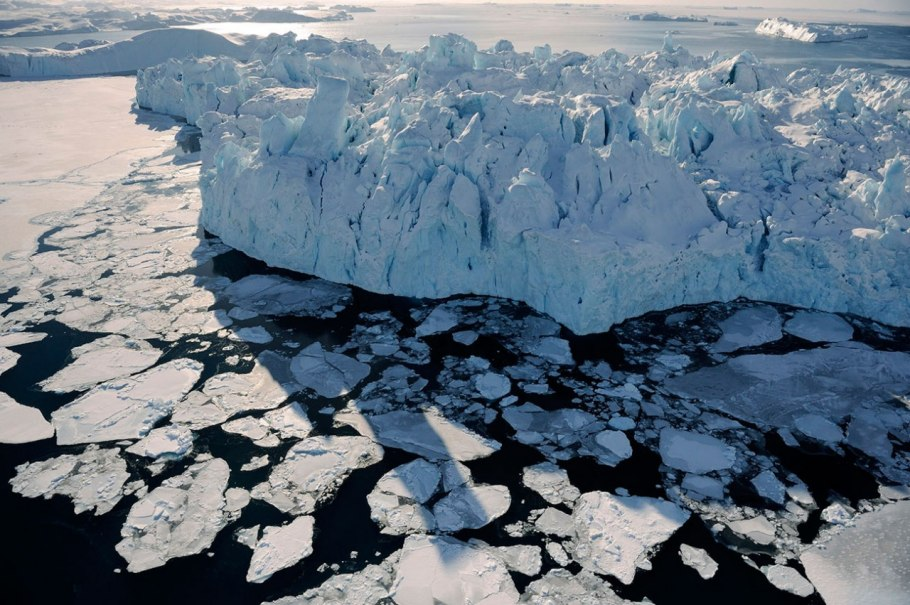 A colossal chunk of Greenland's Ilulissat Glacier floats out to sea.