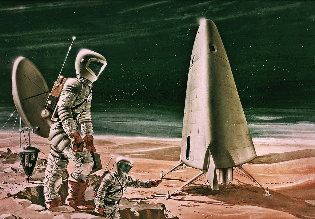 Image: NASA illustration of Mars and astronauts.
