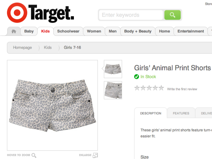 An example of Target's 'trampy' clothing range for girls.