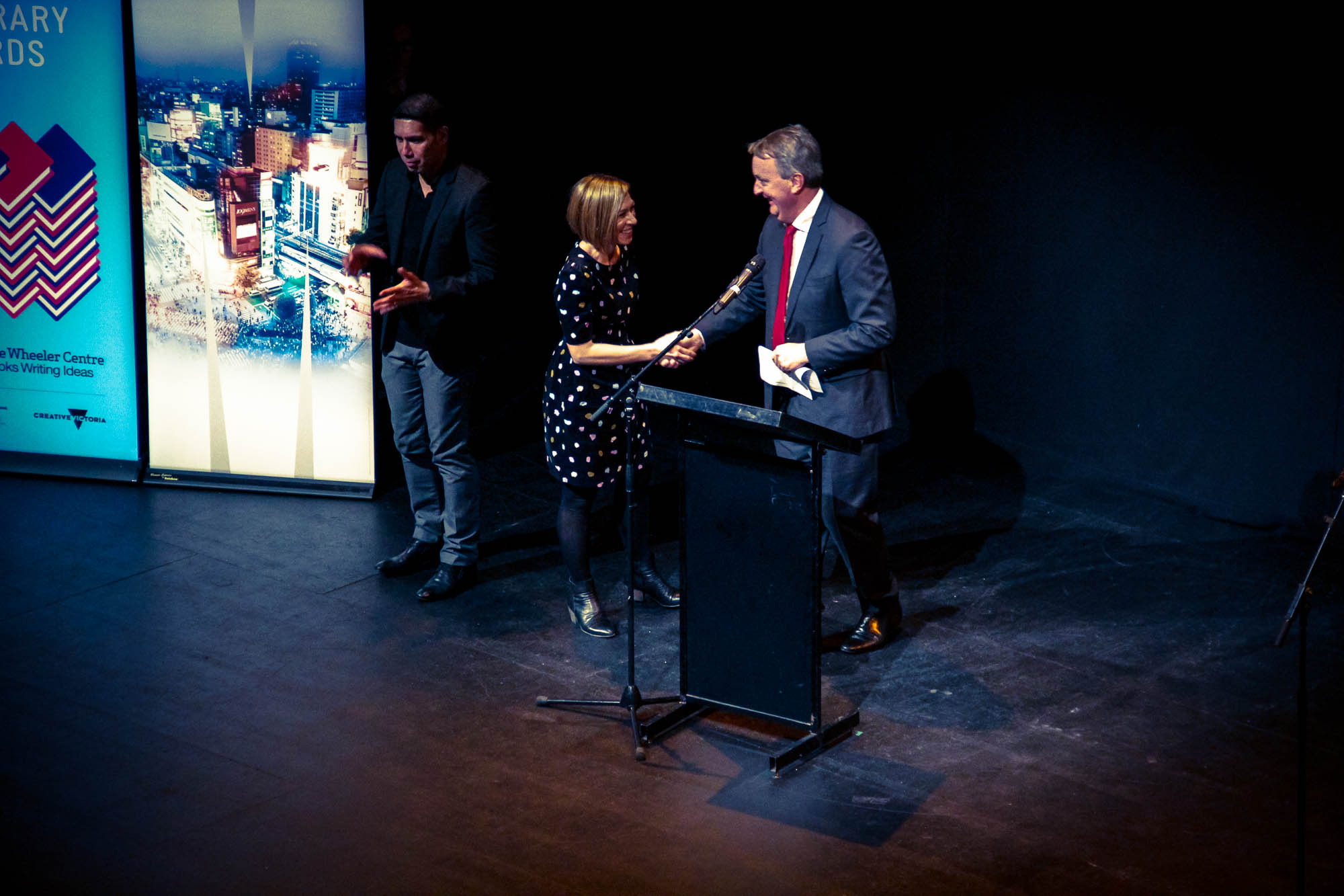 Photo: Melanie Cheng is congratulated by Minister for Creative Industries Martin Foley at the opening night of the 2016 Emerging Writers' Festival, where the Award is presented