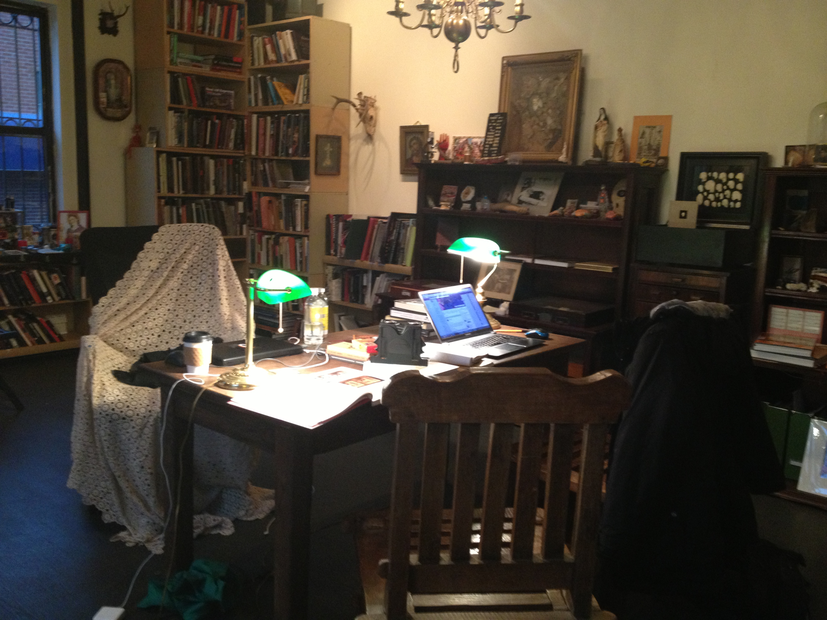 The author's desk at the Morbid Anatomy Museum.