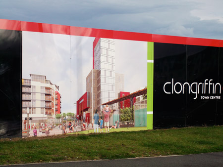 A real estate ad sells a fading dream in the Dublin suburb of Clongriffin; image courtesy of the author.