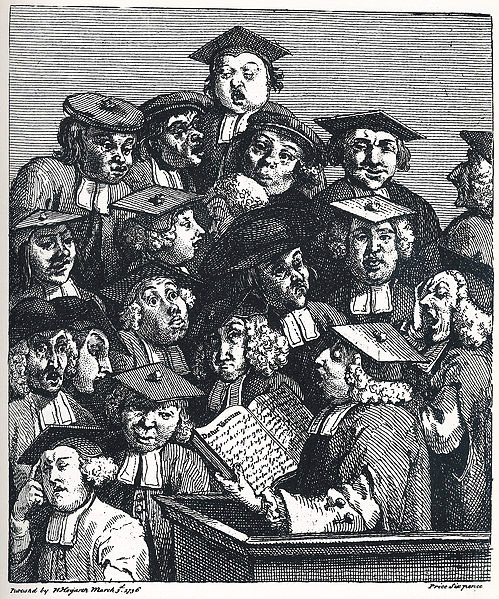 'Students at a Lecture', by William Hogarth [1736], Jesus College, Oxford, via WikiCommons