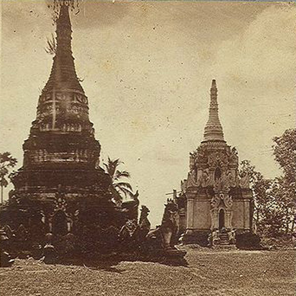 Image of c1880s stereo-optic view of Burmese pagodas via WikiCommons