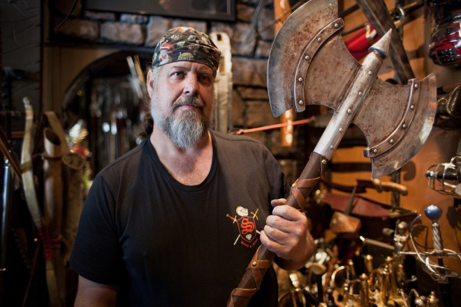 Blacksmith Tony Swatton says of his fiancee, 'On our third date, she came back to the shop and forged a sword with me. So that's a keeper.'