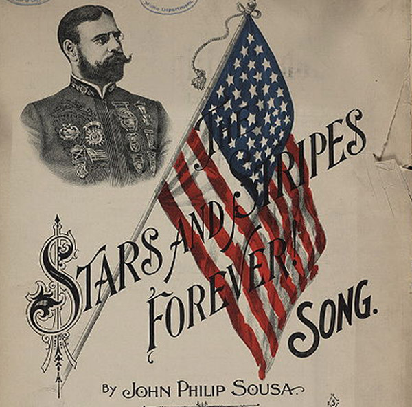 Sheet music of 'Stars & Stripes Forever' by John Philip Sousa, from the Library of Congress via WikiCommons