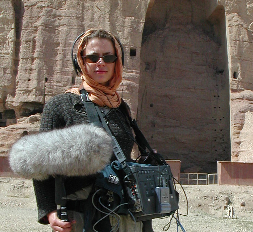 Kyla Brettle recording in Bamiyan, Afghanistan